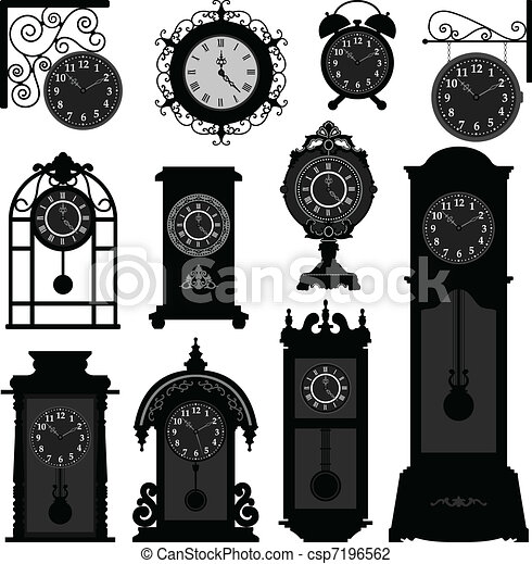 Clock Time Antique Vintage Old  - csp7196562