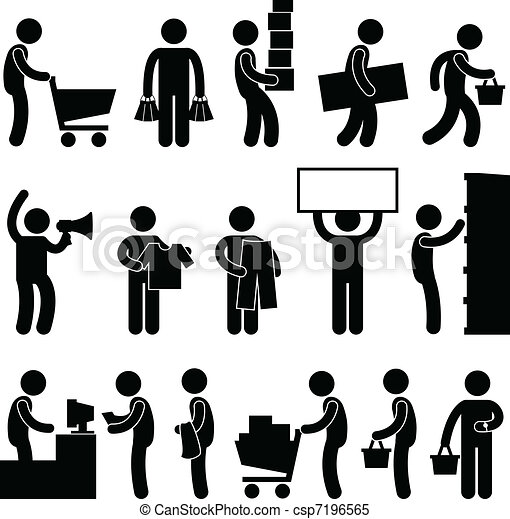 Man People Shopping Cart Queue Sale - csp7196565