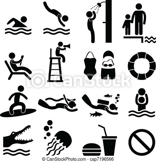 Swimming Pool Sea Beach Icon Symbol - csp7196566