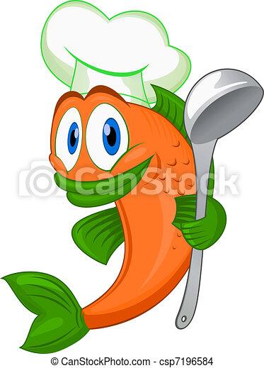 cocinero, pez, caricatura - csp7196584