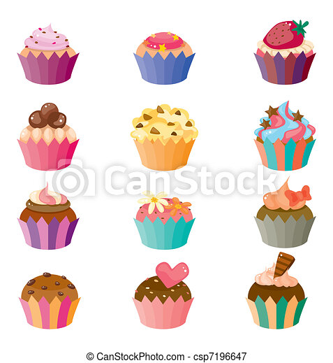 cartoon cake icons set  - csp7196647