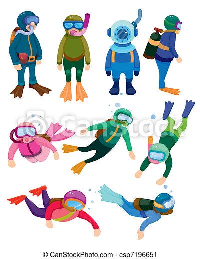 cartoon diver icons  - csp7196651