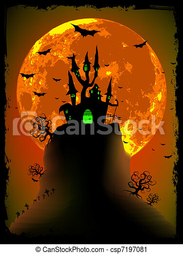 Scary halloween vector with magical abbey. EPS 8 - csp7197081