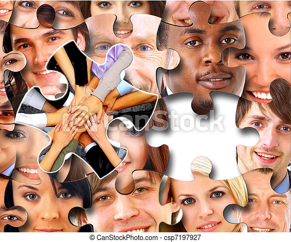 Puzzle, morceaux, groupe,  Business, gens - csp7197927