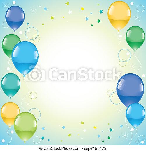 festive colorful balloons  - csp7198479
