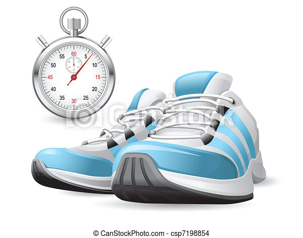 Running Shoes and stopwatch - csp7198854