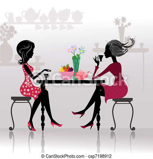 silhouette of beautiful girls in cafes - csp7198912