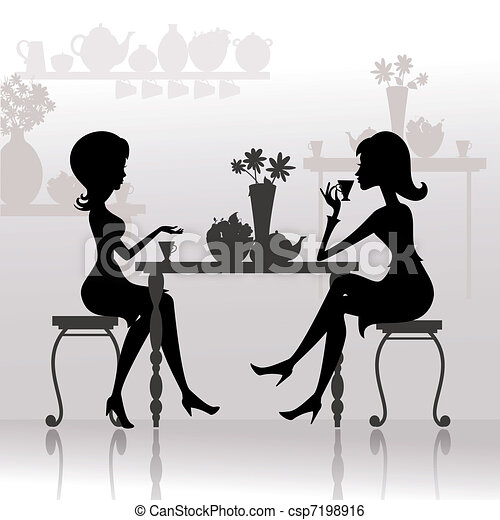 silhouette of beautiful girls in cafes - csp7198916