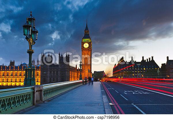 Big Ben at night, London - csp7198956