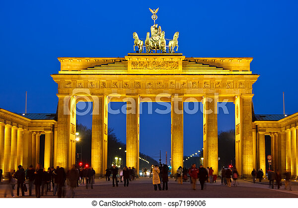 Brandenburg gate at night, Berlin - csp7199006