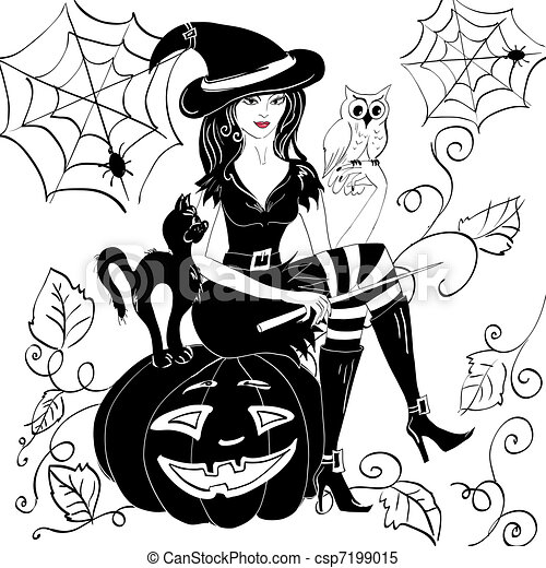 witch with an owl on her arm on the eve of halloween - csp7199015