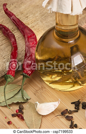 bottle with marinade and spices - csp7199533