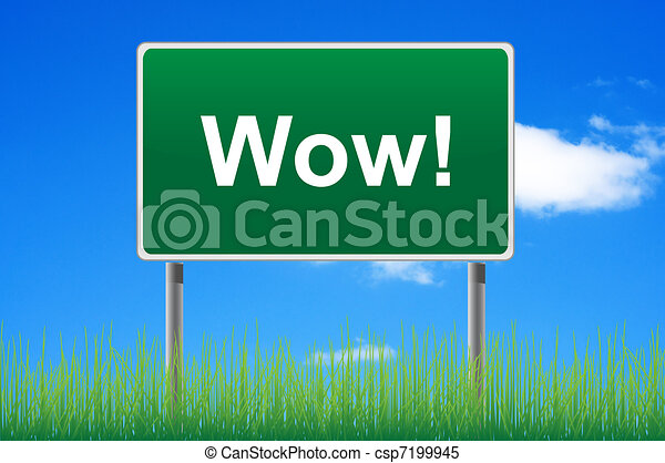 Wow road sign on sky background. Bottom grass. - csp7199945