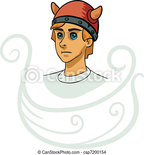 Portrait of young viking  - csp7200154