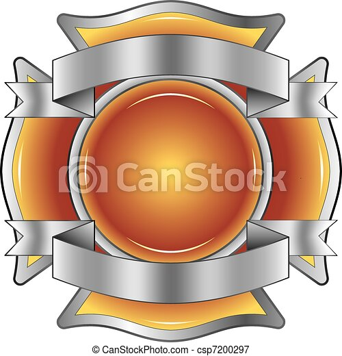 Firefighter Cross with Ribbons - csp7200297