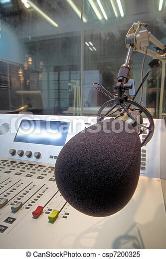 mic in front of the control panel in broadcasting studio - csp7200325