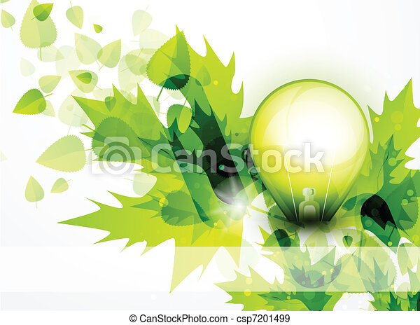 Light bulb and green leaves concept - csp7201499