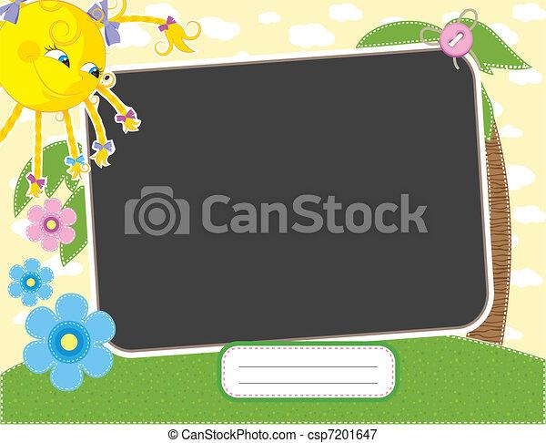 Baby summer frame with fun sun - csp7201647