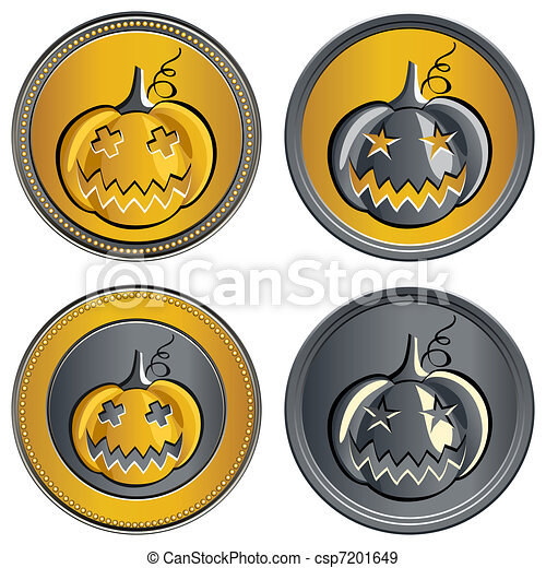 vector set of coins on Halloween - csp7201649