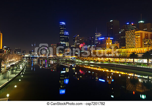 Downtown of Melbourne at night - csp7201782