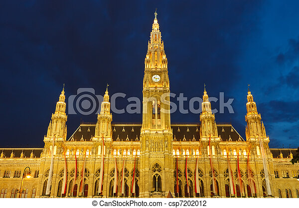Town hall in Vienna at night, Austria - csp7202012