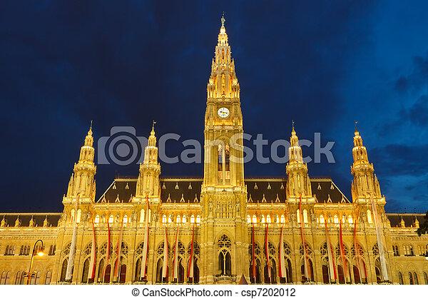 Town hall in Vienna at night, Austria - csp7202012