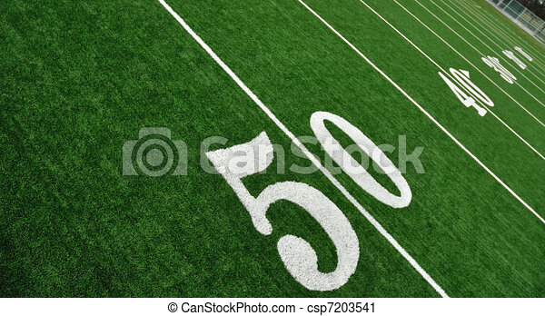 Clipart of View From Above of Fifty Yard Line on American Football ...