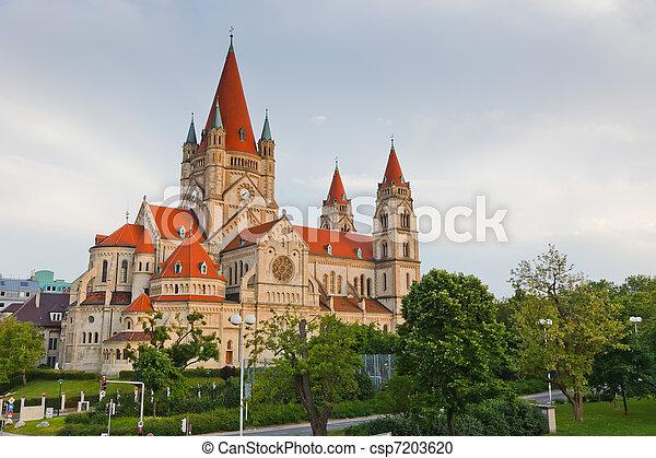 Church Heiliger Franz of Assisi at Mexikoplatz, Vienna, Austria - csp7203620