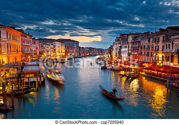 Grand Canal at night, Venice - csp7205940