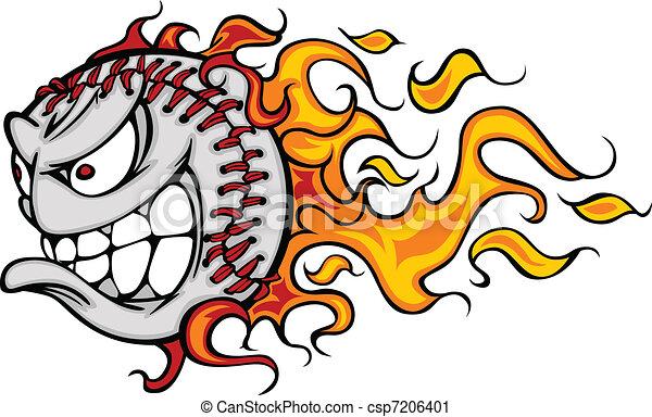 Flaming Baseball or Softball Face V - csp7206401
