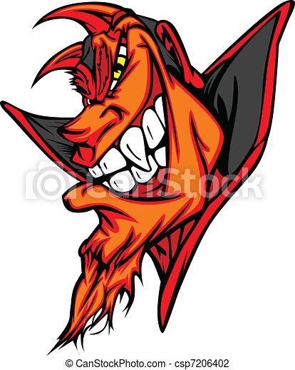 Demon Mascot Head Vector Cartoon - csp7206402