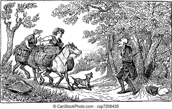 Dr. Syntax tied with a rope and two horseback village women approach with a barking dog vintage engraving. - csp7206435