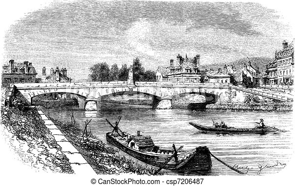 The Bridge of Clamecy (department of Nievre) and the bust of Jean Rouvet, France vintage engraving. - csp7206487