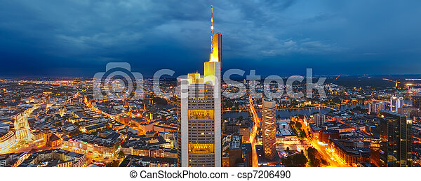 Panoramic view of Frankfurt am Main at dusk - csp7206490