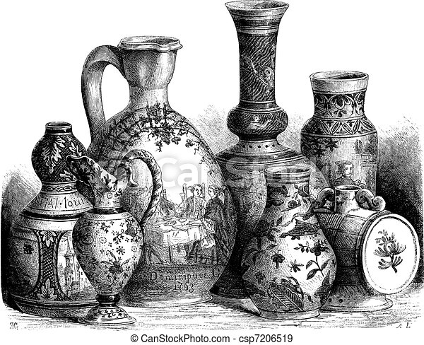 Various earthenware of Nevers faience (Tin-glazed pottery) drawing by Edouard Garnier - csp7206519