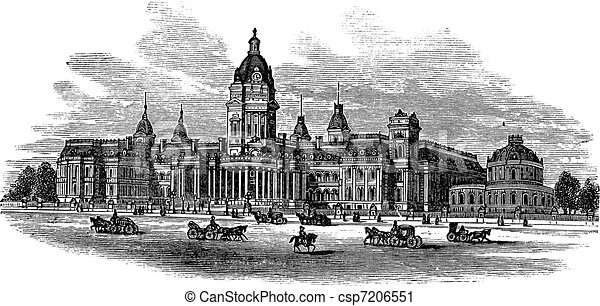 San Francisco City Hall in America vintage engraving - csp7206551