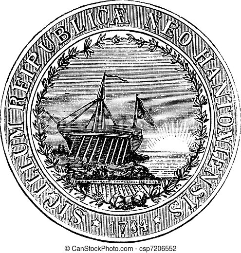 Seal of the State of New Hampshire, vintage engraved illustration - csp7206552