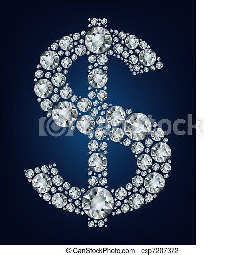 Dollar symbol in diamonds.  - csp7207372