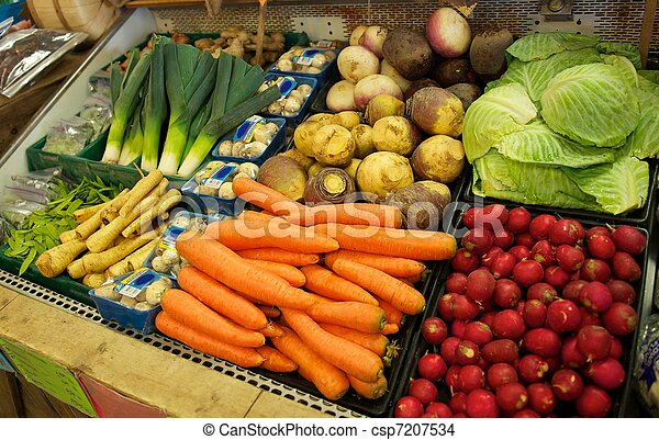 Vegetable Bin in Grocery Store - csp7207534