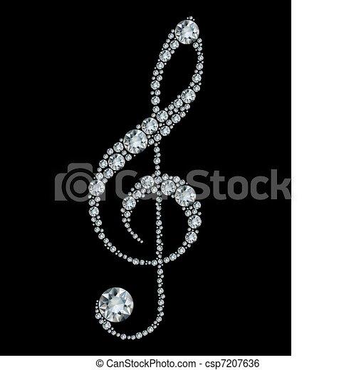 Diamond treble clef. - csp7207636
