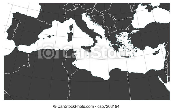 Mediterranean sea map - csp7208194