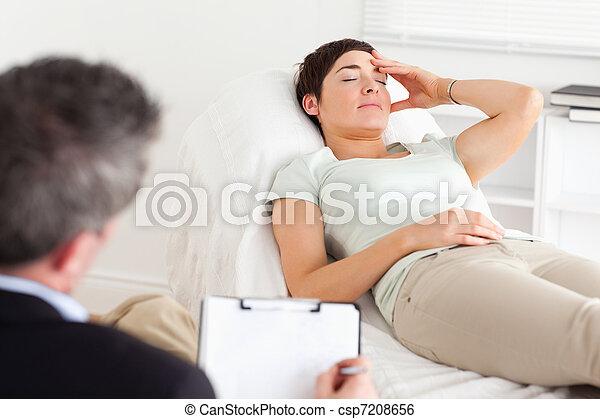 deprimido, Hablar, Psicólogo, paciente - csp7208656