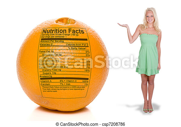 Woman with Orange Nutrition Facts - csp7208786