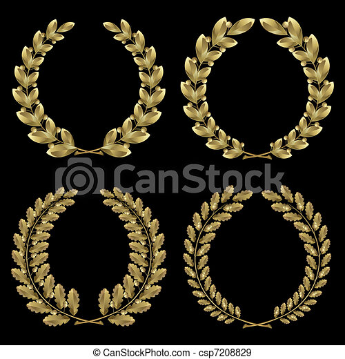 Set from  gold laurel and oak wreath - csp7208829