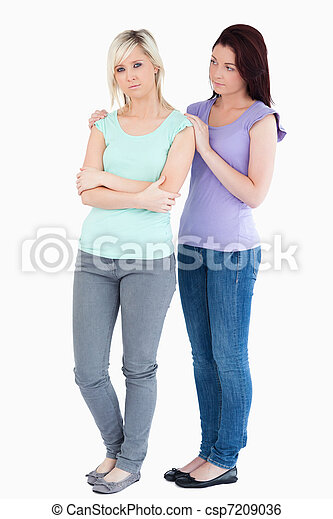 Young Woman comforting sad friend  - csp7209036