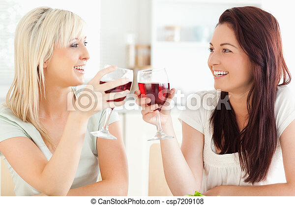 Joyful women toasting with wine - csp7209108