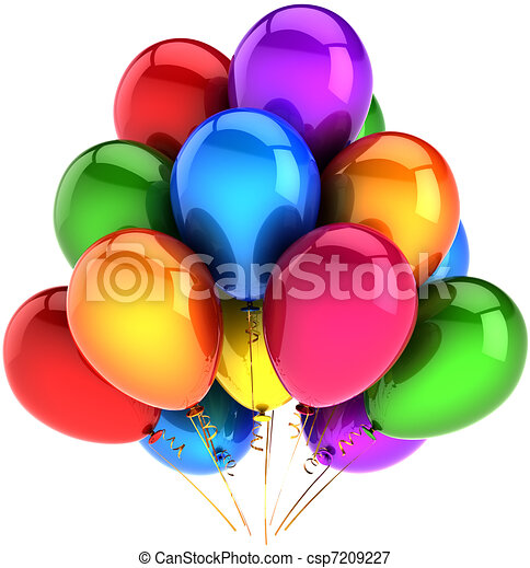 Party balloons colored as rainbow - csp7209227