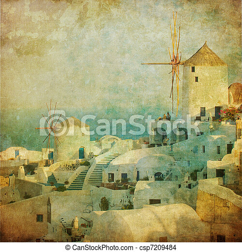 Vintage image of Oia village at Santorini island, Greece - csp7209484