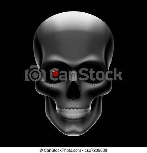 One eyed skull on black - csp7209688