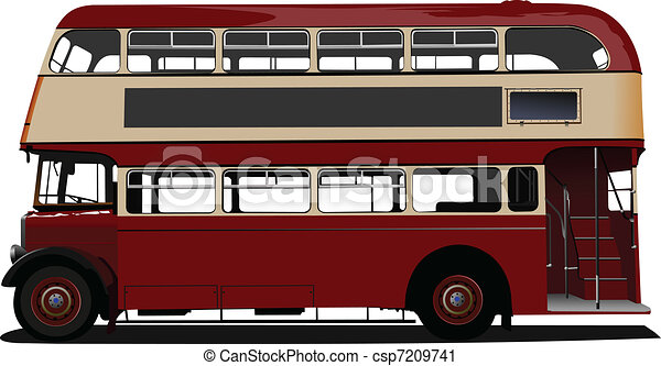 Double Decker  red bus. Vector ill - csp7209741